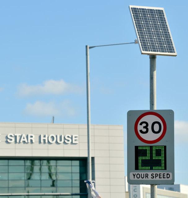 """""""Your speed"""" sign, Titanic Quarter, Belfast (September 2018)"""
