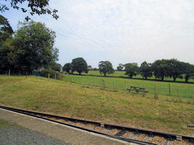 Fields by railway at Wootton