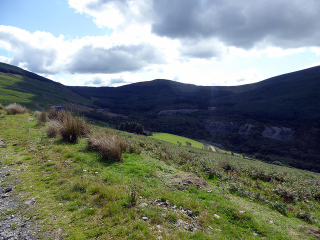 Light and shade on the road climbing towards Briddellarw