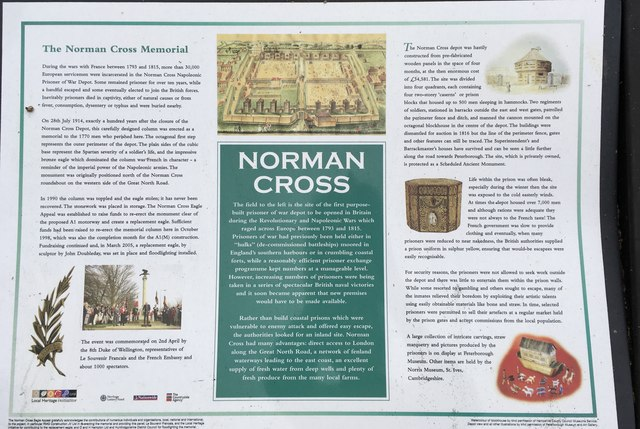Information board by the Norman Cross Memorial