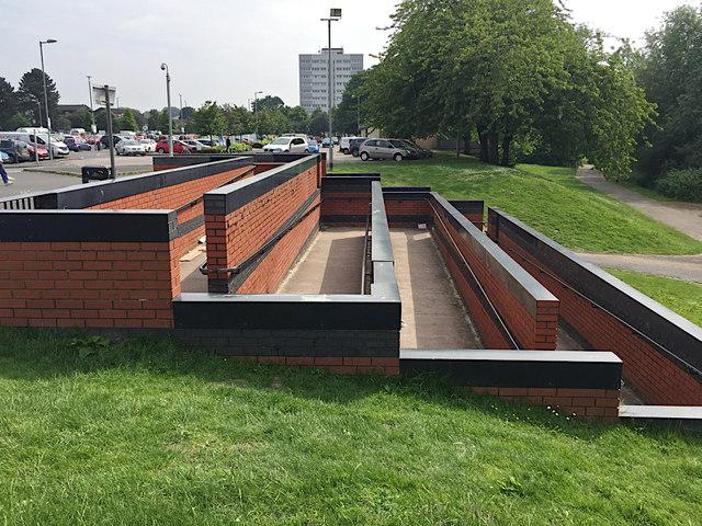 Pedestrian ramp and steps near Chelmsley Wood shopping centre, east Birmingham