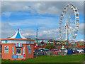 ST1166 : Ice cream kiosk and ferris wheel. Barry Island by Robin Drayton