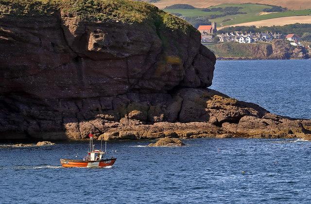 A fishing boat in Eyemouth Bay