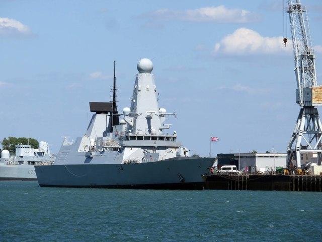 HMS Diamond berthed on North Corner