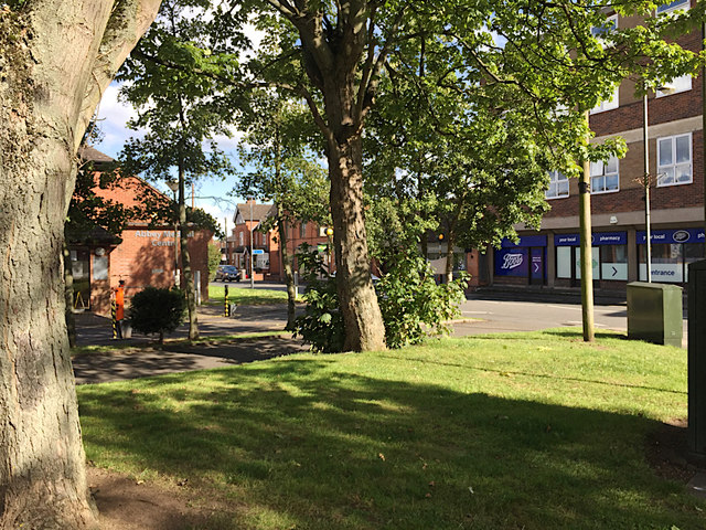 Leafy access in and out of Abbey End car parks by Station Road, Kenilworth