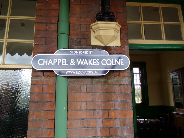 Chappel & Wakes Colne Railway Station sign