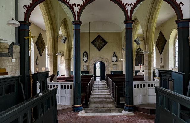 Interior, St Swithin's church, Baumber