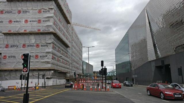 Construction work along Vaughan Way in Leicester