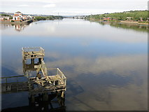 NZ2362 : Derelict landing stage and the River Tyne upstream from Dunston Staiths by Mike Quinn