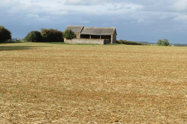 Farm building in a field