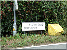 TL8928 : Station Road & Bures Road signs by Adrian Cable