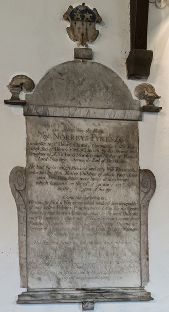 Memorial to Norreys Fynes, St Margaret church, Roughton