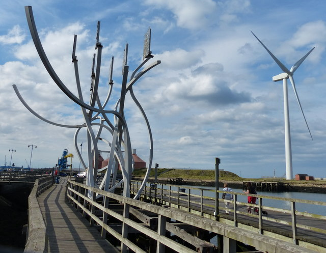 Spirit of the Staithes sculpture on Blyth Quay