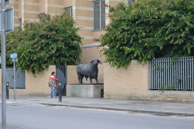 Bull statue outside Oxford Station