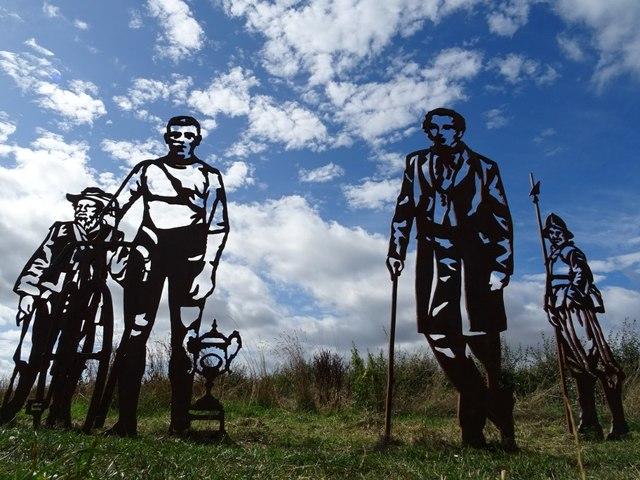 Cutout historical Worcester figures