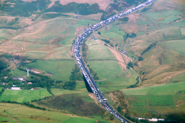 M62 east of Milnrow, from the air