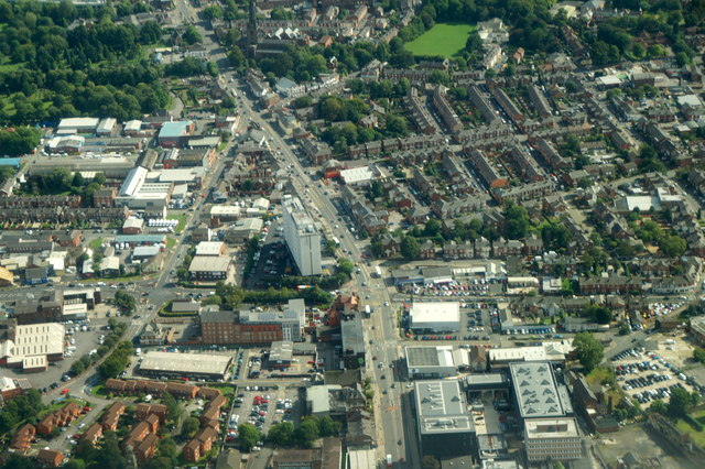 Wellington Road South, Stockport, from the air