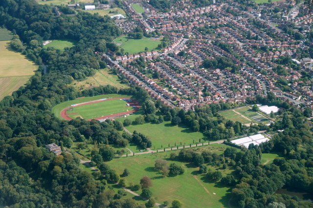 Woodbank Park, Stockport, from the air