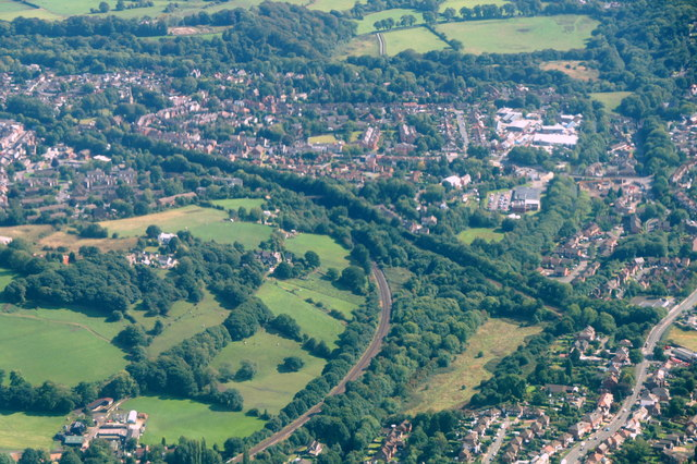 Railway junction, Top o' the Hill, Romiley, from the air