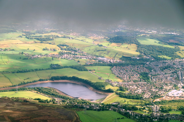 Tintwistle and Bottoms Reservoir, from the air
