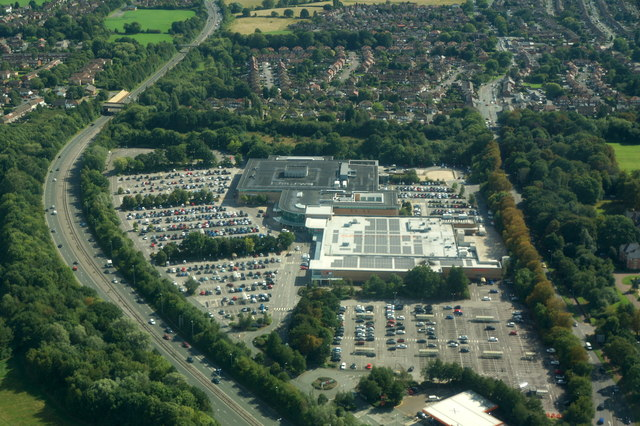 John Lewis and Sainsbury's, Cheadle Hume, from the air