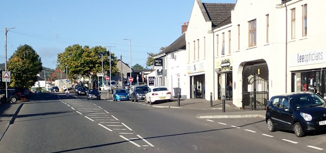The  A25 (Newry Road) at the centre of the village of Camlough