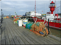 TM2532 : Fishing gear on Ha'penny Pier, Harwich by Robin Webster