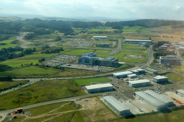 Buildings beside Aberdeen Airport from the air