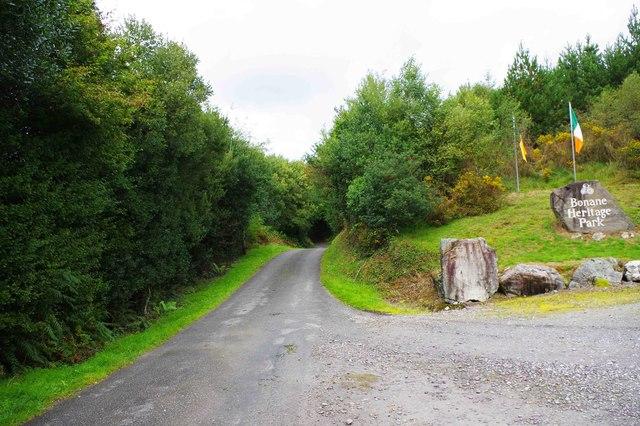 Minor road passing the Bonane Heritage Park, near Kenmare, Co. Kerry