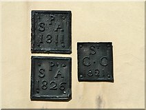 TG2209 : 57 Pitt Street - parish boundary markers by Evelyn Simak