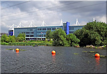 SK5802 : River Soar and King Power Stadium in Leicester by Roger  Kidd