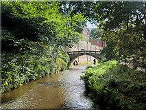 SJ8383 : River Bollin and Packhorse Bridge, Quarry Bank Mill by David Dixon