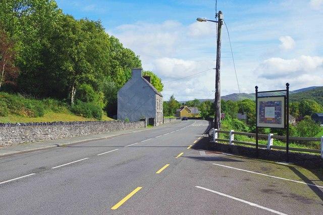 R569 regional road heading for the village centre,  Kilgarvan, Co. Kerry