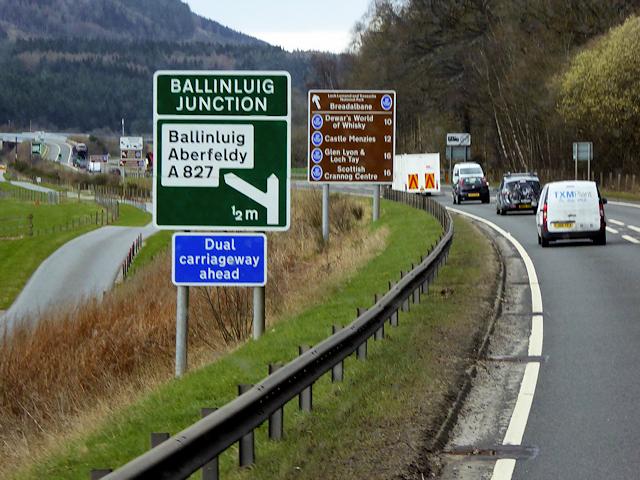 Northbound A9 near Ballinluig Junction