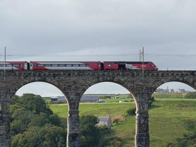 LNER train crossing the Royal Border Bridge (detail)