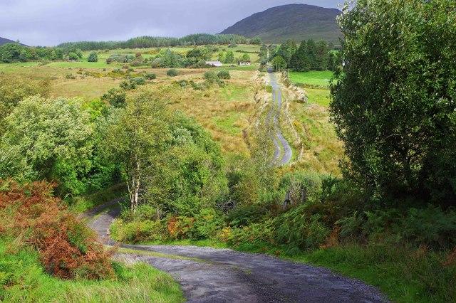 A steep bendy minor road near Kenmare, Co. Kerry