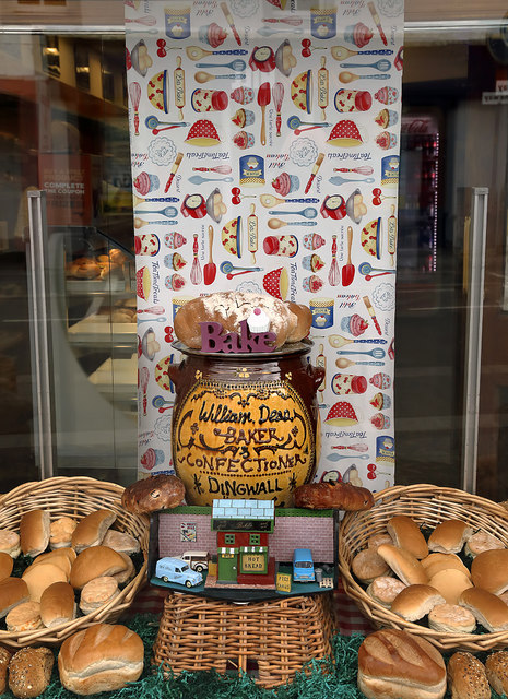 A window display at William Deas, Baker, Dingwall