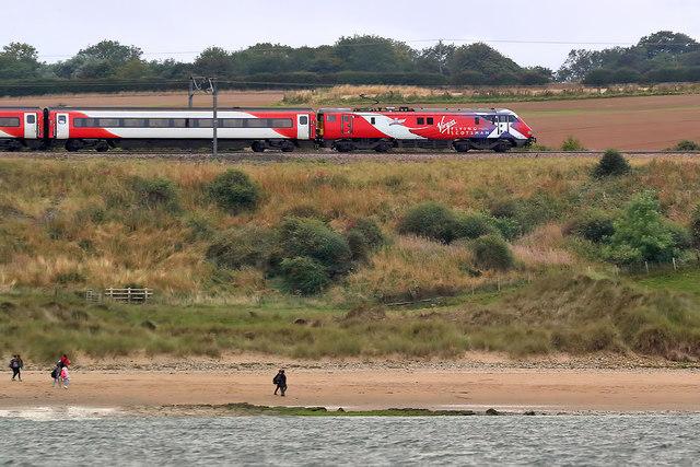 A Virgin train on the East Coast Railway Line