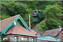 SS7249 : Lynton and Lynmouth Cliff Railway: descending car arriving at Lynmouth by David Martin