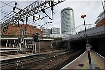 SP0786 : The Rotunda viewed from Platform 10a, Birmingham New Street Station by Mark Anderson