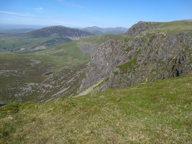 Looking across to the Great Slab in Cwm Silyn