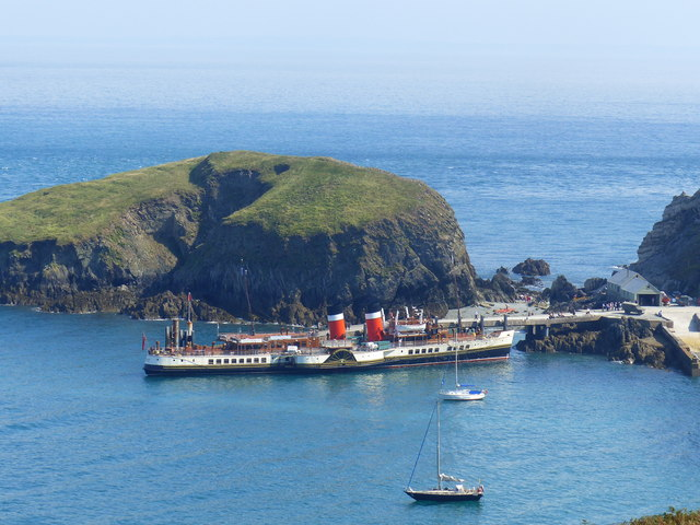 """The PS """"Waverley"""" moored at the jetty,  Lundy Island"""