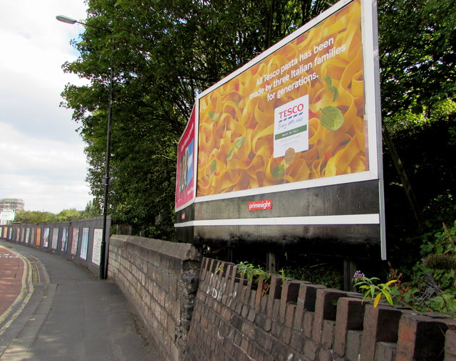 Tesco pasta advert on a Malago Road billboard, Bedminster, Bristol
