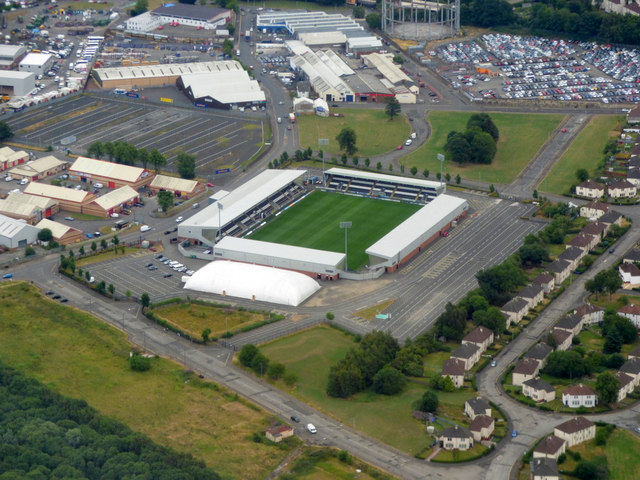 Ferguslie Park and St Mirren Park from the air