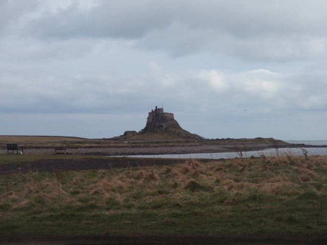 Lindisfarne Castle viewed from across the Ouse