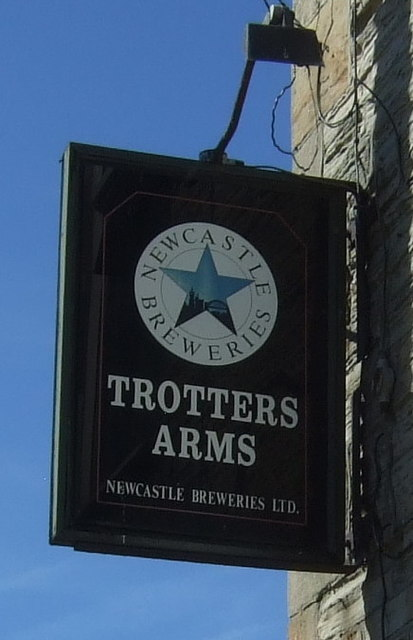 Sign for the Trotters Arms, Ramshaw