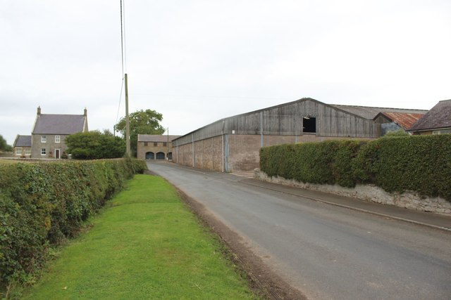 Road passing North Farm, Rennington