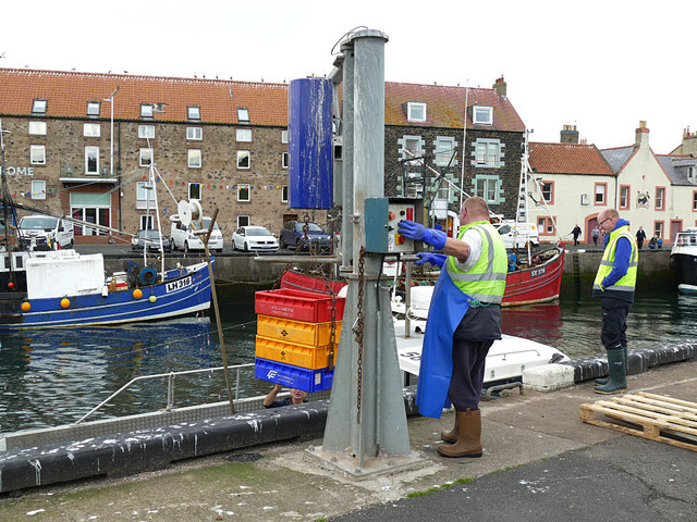 Operating an electric winch at Eyemouth harbour