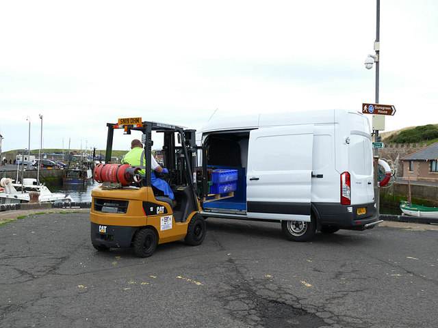 Loading a van at Eyemouth harbour
