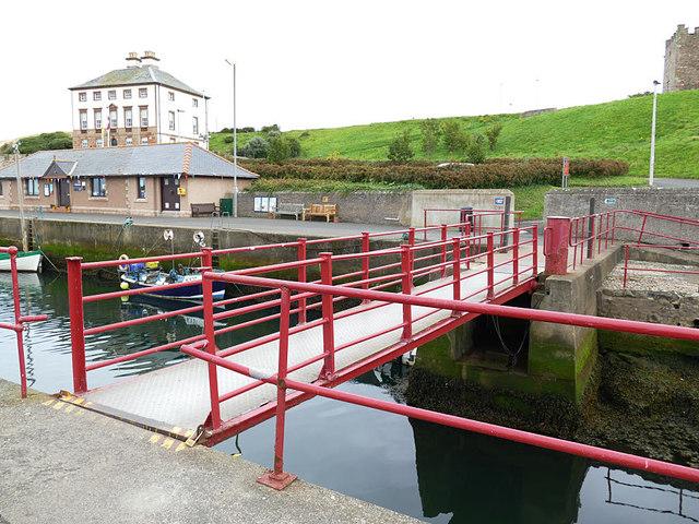 Lifting footbridge at Eyemouth harbour